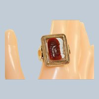 Estate 14K Native American Cameo Gent's Ring