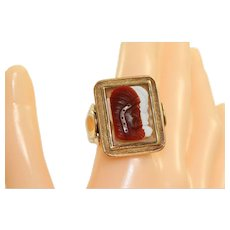 Estate 14 K Native American Cameo Gent's Ring