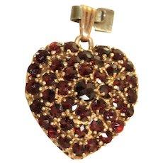 Estate 14 K Rose Cut Garnet Heart Pendant