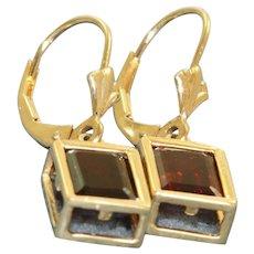 Estate 14 K 2 CT Garnet Dangle Earrings