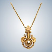 Estate 14K and Diamond Etruscan Revival Necklace