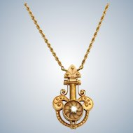 Estate 14 K and Diamond Etruscan Revival Necklace
