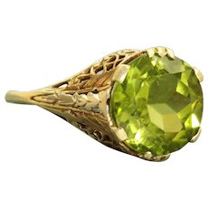 Estate Two Toned 14K 5.61 CT Peridot Solitaire Filigree Ring