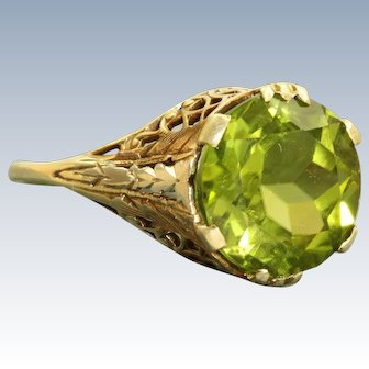 Estate Two Toned 14 K 5.61 CT Peridot Solitaire Filigree Ring