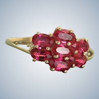 Estate 18 K Ruby and Diamond Cluster Ring