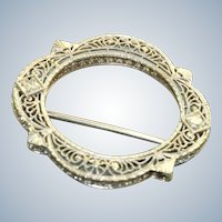 Estate 1920's 14 K Filigree Diamond Scarf Pin