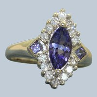 Estate 14K Tanzanite and Diamond North South Ring