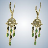 Estate 14K Deco Revival Diamond Emerald and Sapphire Earrings