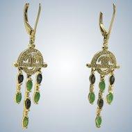 Estate 14 K Deco Revival Diamond Emerald and Sapphire Earrings