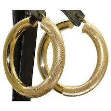Estate 14 K Gold Textured Large Hoop Earrings