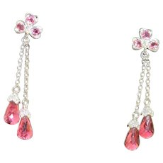 Estate 14 KW Pink Tourmaline and Diamond Dangle Earrings
