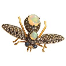 Antique 14 K/Sterling Silver Opal Sapphire and Diamond Insect Brooch