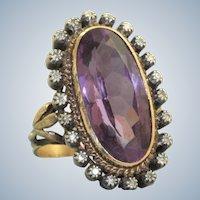 Vintage 14 K/Sterling Amethyst and Diamond Dinner Ring