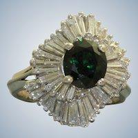 Estate 18 KW Tsavorite and Diamond Ballerina Ring