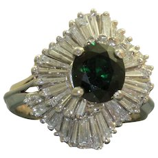 Estate 18 KW Tsavorite and Diamond Ballerina Ring