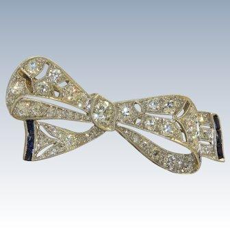Estate Art Deco Platinum Diamond and Sapphire Bow Brooch