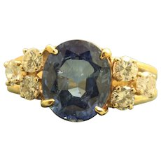 Estate 14 K 5 CT Sapphire and Diamond Ring