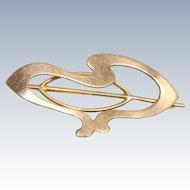 Vintage 10 K Art Nouveau Brooch/Scarf Pin