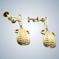 Estate Sterling Textured Screwback Dangle Earrings