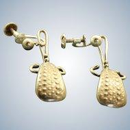 Estate Sterling Textured Screwback Dangle Earrings