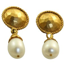 Estate 18 K Etruscan Revival Fresh Water Pearl Earrings