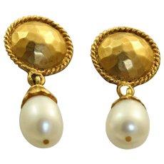 Estate 18 K Etruscan Revival Fresh Water Pearl Earrings