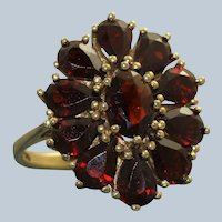 Estate Low Carat Gold Garnet Cluster Ring