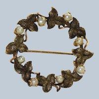 Vintage 14K Rose Gold Oak Leaf and Seed Pearl Wreath Pin