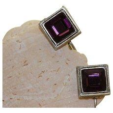 Estate Sterling Amethyst Crystal Dangle Earrings