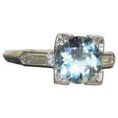 Estate Platinum 1.54 CT Aquamarine and Diamond Ring