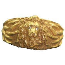 Estate Solid 14K Lion Ring with Diamond Eyes