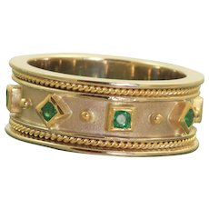 Estate 14 K Two Tone Emerald Etruscan Revival Band