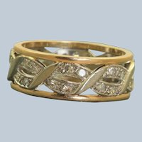 14K Two Toned Retro Diamond Eternity Band