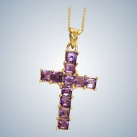 Estate 14K Amethyst Cross and Chain