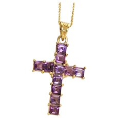Estate 14 K Amethyst Cross and Chain