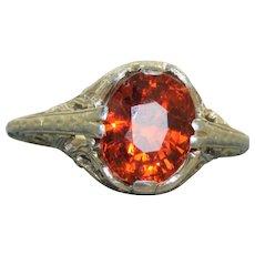 Estate 18 KW Spessertite Garnet Filigree Ring