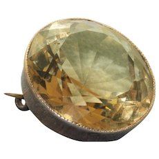 1870 12 CT Citrine Brooch in 9 K Gold