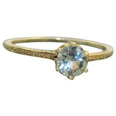 Estate 14 K Two Toned 1 CT Aquamarine Filigree Ring