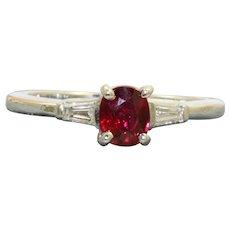 Estate Platinum Pidgeon Blood Ruby and Diamond Ring