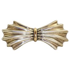 Estate 14 K and Sterling Silver Bow Pin