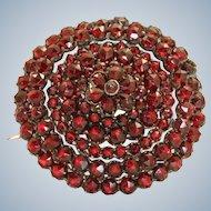 Vintage Rose Cut Bohemian Garnet Brooch