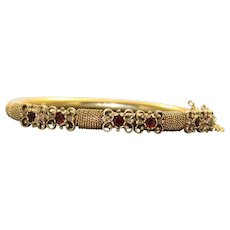 Estate 14K Etruscan Revival Garnet Bangle