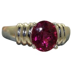 Estate 14KW 2 CT Raspberry Tourmaline Ring