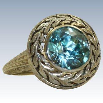 Estate 18KW 3.37 CT Blue Zircon Braided Leaves Ring