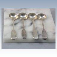 4 London 1877 Sterling Master Salt Spoons