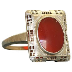 14K Deco Carnelian Filigree Ring