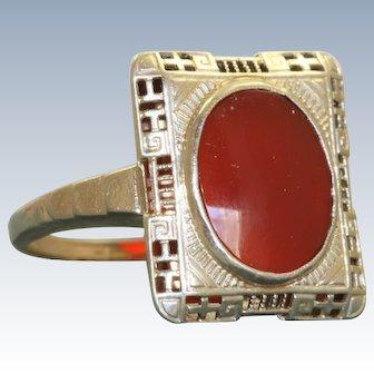 14K Deco Carnelian Filigree Ring