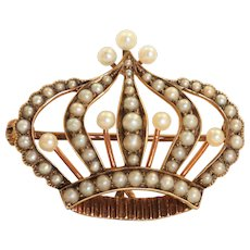 Estate Victorian 14K Seed Pearl Crown Watch Pin
