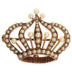 Estate Victorian 14K Seed Pearl Crown Watch Pin