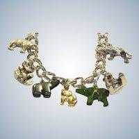Estate 9 Bear 14K/ Sterling Charm Bracelet